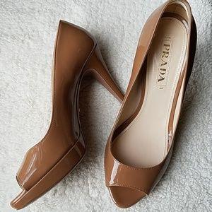Prada nude open toe patent platform heels